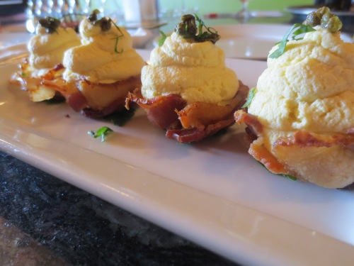 Deviled eggs in bacon cups at the Yellow Rooster.